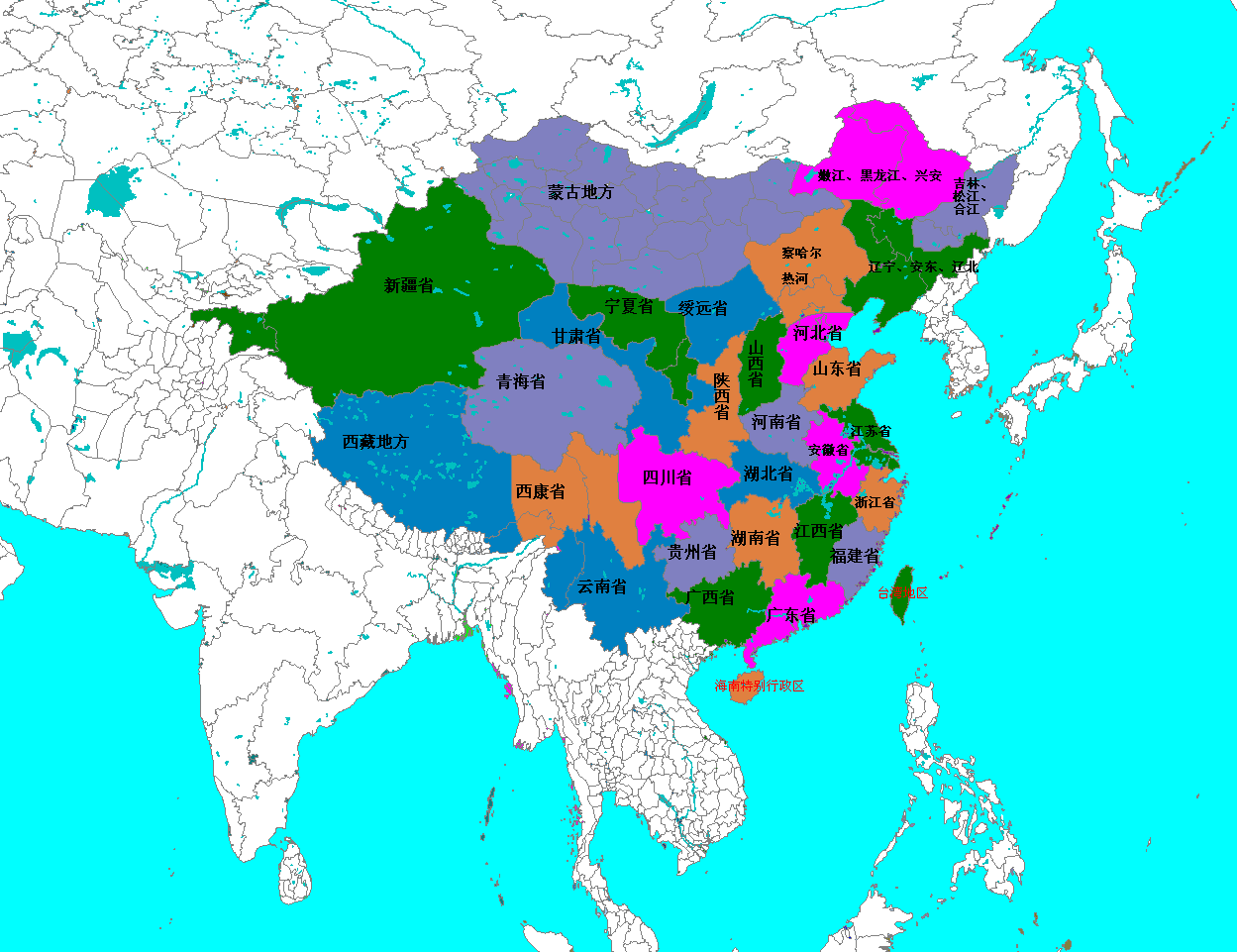 Carte Chine Provinces Chinoises.Chinoiseries Provinces Chinoises Monosyllabiques Sinoiseries